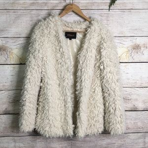 Ambiance fuzzy faux fur open jacket in cream